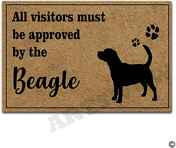 Artswow All Visitors Must Be Approved By The Beagle Doormat Indoor Outdoor Entrance Floor Mat With Non Slip Rubber Backing Door Mat 23 6 By 15 7 Inch