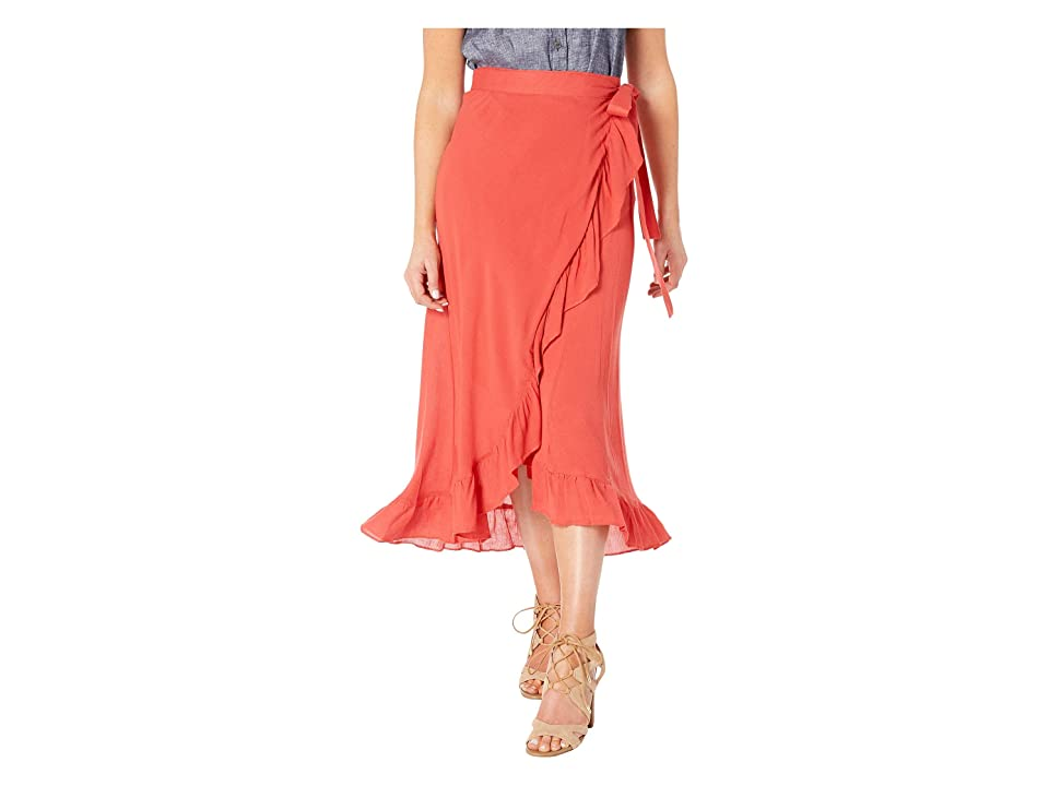 Echo Design Solid Ruffle Wrap Skirt (Poppy) Women