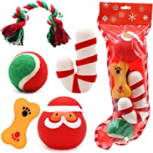 PETUOL Christmas Dog Toys Stocking Set, 5 Pieces Assorted Chew Toys Funny Santa Claus Shaped Squeaky Toy for Dog Cotton Rope Ball Toys Training Interaction.