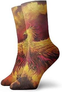 Ave de fénix de llama fresca Calcetines cortos transpirables Calcetines clásicos de algodón de 30 cm para hombres Mujeres Yoga Senderismo Ciclismo