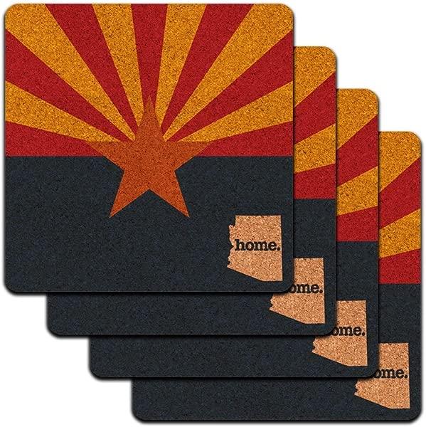 Arizona AZ Home State Low Profile Cork Coaster Set Flag