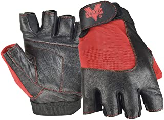 Valeo Industrial V336 Material Handling Fingerless Leather Gloves with Padded Palms, VI5159, Pair, Red, Medium