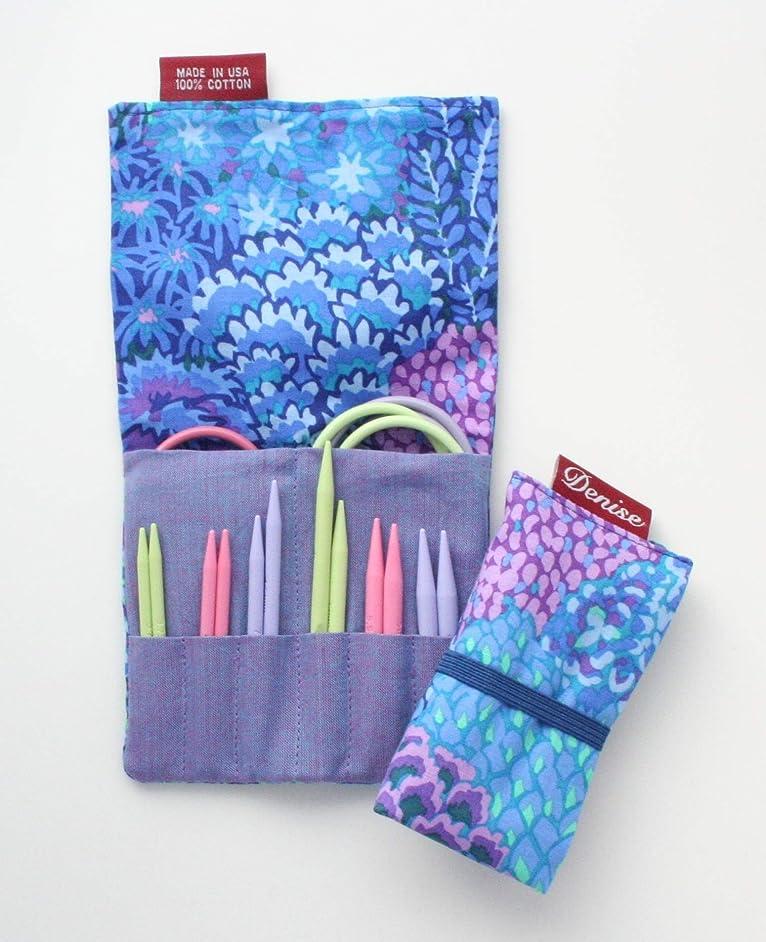 Denise2Go for Knitting, Short Sharp Tips - Blue Flowers