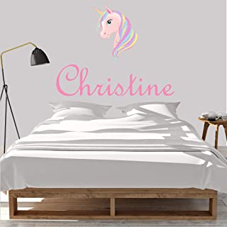 Girl's Custom Name Unicorn Wall Decal, Choose Your Own Name And Letter Style, Multiple Sizes, Wall Decal Sticker, Custom Name, Unicorn Wall Decal, Girl's Nursery Room, Unicorn Decor, Unicorn Sticker