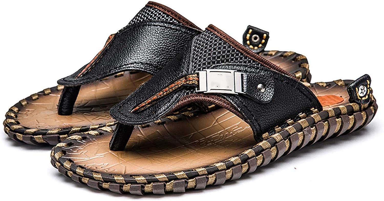 ANDTUN-sandal Men's Casual shoes Genuine Leather Sandals Men Flip Flops Breather Slippers Plus Size