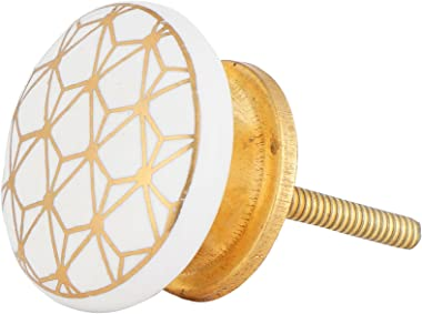 Set of 12 White and Gold Knobs – Contemporary Cabinet Pulls for Cabinets, Drawers and Dressers – Decorative Drawer Knobs for