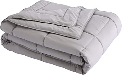 Lotus Home Down Alternative Blanket With Microfiber Cover and Water and Stain Resistance, Full/Queen, Silver