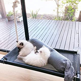 Cat Bed Window Perch Hammock Sunny Seat for Larger Cats Perches Window Mounted Cat Beds Two Kitty Window Seat Animal Pet K...