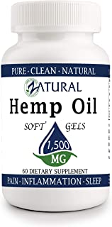 Hemp Oil Softgel 1,500mg: Hemp Seed Oil for Premium Relief from Pain, Stress, Anxiety, and More - Natural Anti-Inflammatory - High in Omegas (60 Softgel 1,500mg)