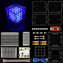 KEYESTUDIO 444 LED Cube Light Kit with Control Board for Arduino, Diffuse Blue Light LED Cube 3-Dimensional Display, Funny Electronic Learning Set for Stem Education