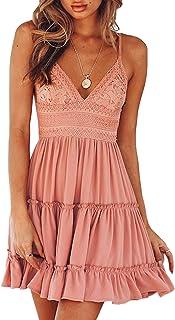 Womens V-Neck Spaghetti Strap Bowknot Backless Sleeveless Lace Mini Swing Skater Dress