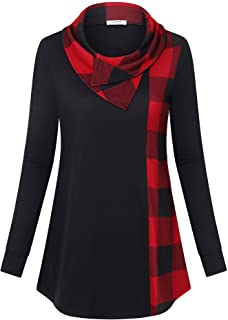 Women's Long Sleeve Cowl Neck Tunic Color Block Pullover Sweatshirt