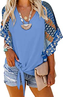 Roseseedlove Women Boho Floral V Neck Bell Shirt Casual Loose Chiffon Front Tie 3 4 Sleeve Blouses Tops