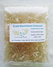 PurecapsUSA - 1,000 Size 1 Fillable Clear Empty Vegetarian Capsules