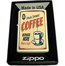Zippo Custom Lighter - 1950's Vintage Coffee Poster - Regular Cream Matte