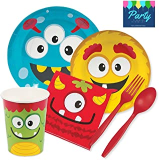 Party Tableware Today Silly Monster Party Supplies for 16 Guests - Plates, Napkins, Cups, Platicware