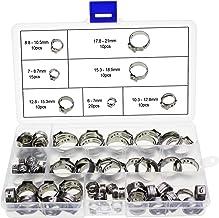 HSEAMALL 7 mm – 21 mm rostfritt stål enkelöronslangsklämmor, justerbara slangklämmor sortimentssats, 85-pack