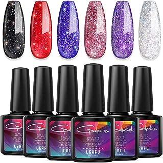 Modelones Glitter Gel Nail Polish Set,0.33 OZ 6 Colors Soak Off UV LED Nail Gel Varnish Red Blue Pink Black Sliver Purple Manicure Nail Art Kit 10ml