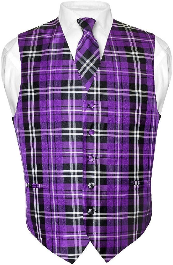 Men's Plaid Design Dress Vest & NeckTie Purple Black White Neck Tie Set