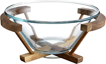 Best glass bowl with wooden stand Reviews