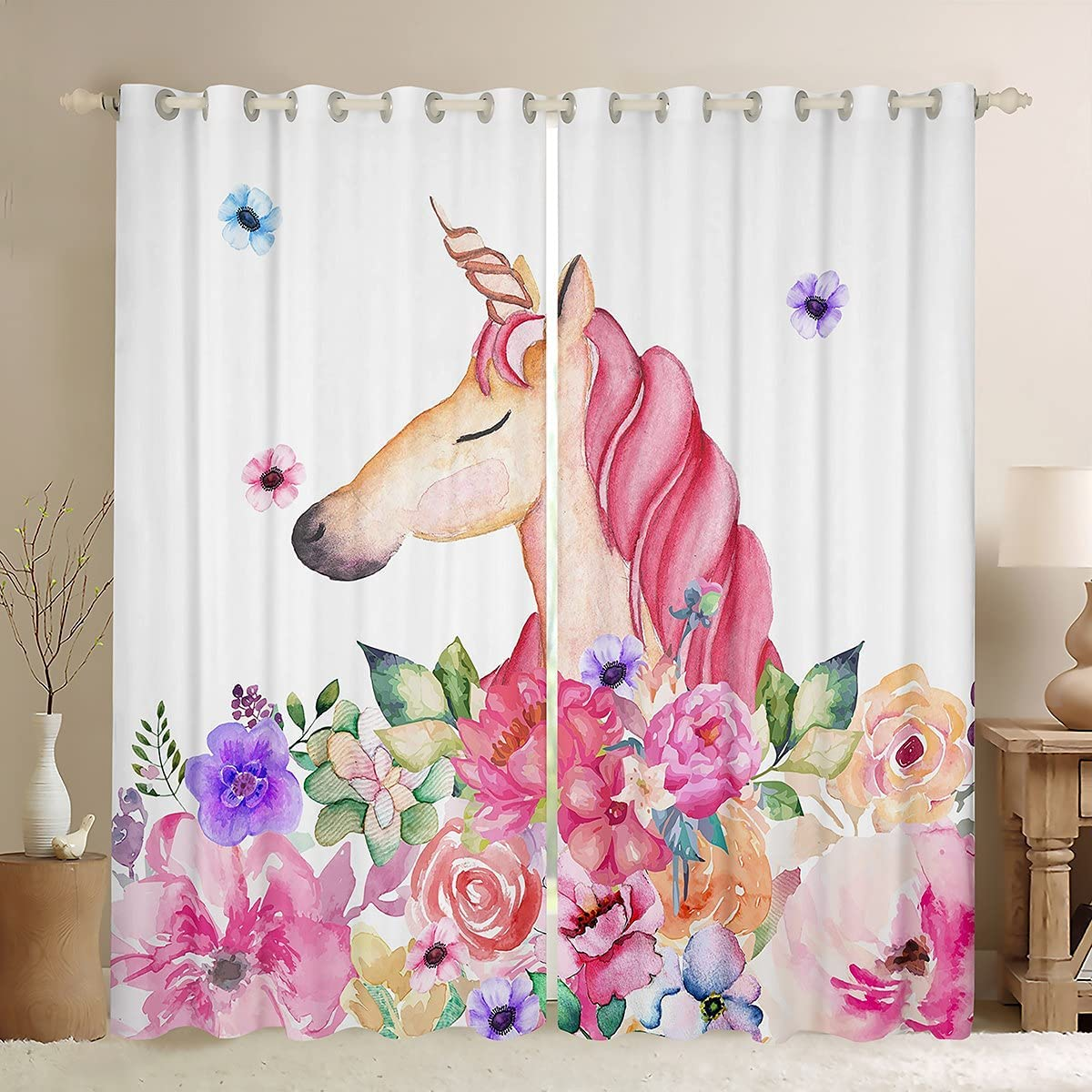 Castle Fairy Cute Unicorn Curtains safety for Kids Girly Boys online shopping Bedroom F
