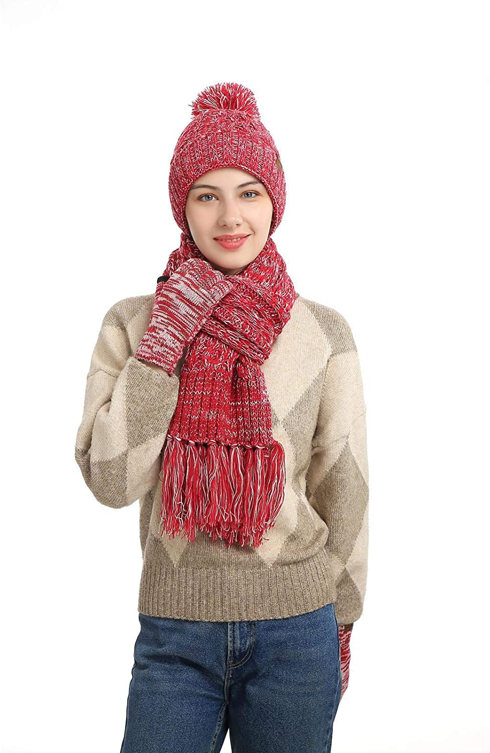 Women's Winter Beanie Hat Scarf and Touchscreen Gloves 3Pcs Knitted Thickened Lining Cap Neck Warmer for Women in Color RoseRed