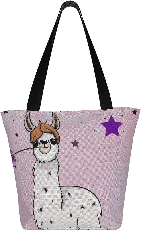 No Prob-Llama Cool Pentacle Themed Printed Women Canvas Handbag Zipper Shoulder Bag Work Booksbag Tote Purse Leisure Hobo Bag For Shopping
