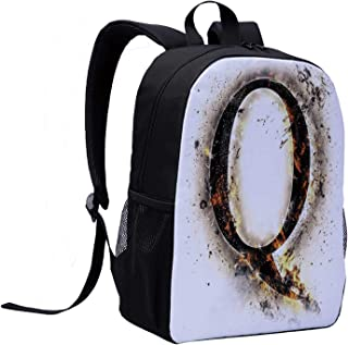 Letter Q Children's Backpack,Words in Flames Gothic Style Influential Names Hazy Fire Featured Alphabet for Travel,12″L x 5″W x 17″H