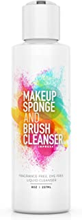 Impresa 8oz Cosmetic Cleanser & Conditioner compatible many foam Makeup Sponges and Brushes - Fragrance-Free, Dye-Free - Made in the USA