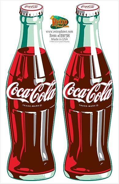 Coca Cola Green Contour Bottles Vinyl Sticker Set Of 2 Decals