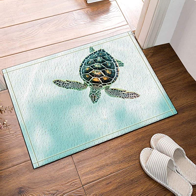 Xuelizhou Light Blue Ocean Black Turtle Black Spot Bathroom Mat Right Angle Non Slip Door Pad Children 40X60CM