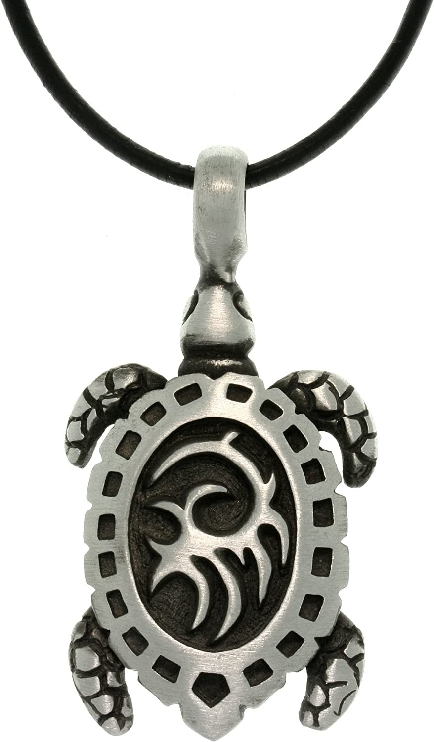 Jewelry Trends Pewter Turtle with Tribal Shell Pendant on 18 Inch Black Leather Cord Necklace