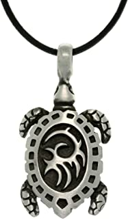 Pewter Turtle with Tribal Shell Pendant on 18 Inch Black Leather Cord Necklace
