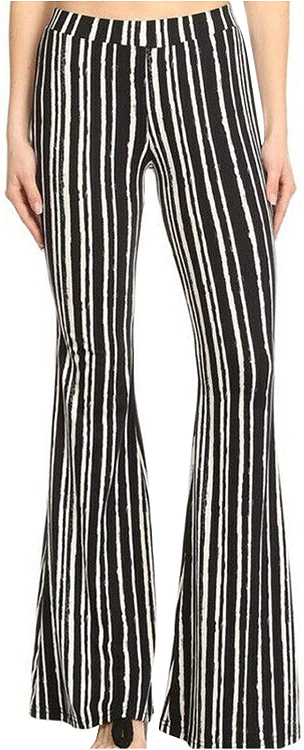 Forwelly Flare Pant for Women Trendy Stripe High Waist Yoga Leggings Casual Bell Bottom Trousers Pant