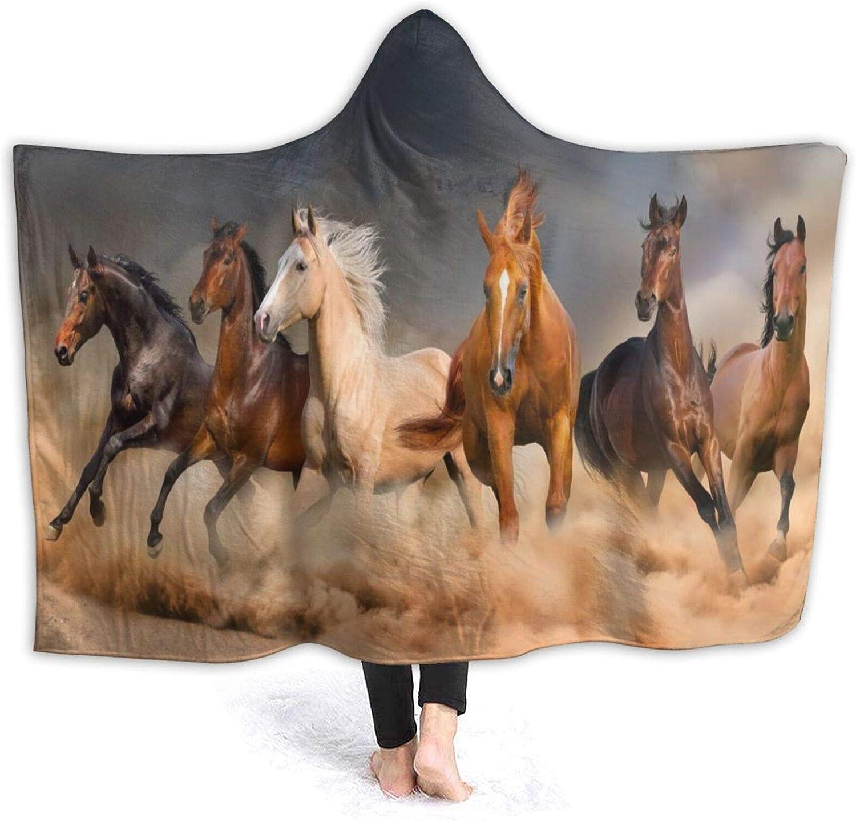 Animal Horse Elegant Running Year-end gift Blanket Hooded Wearabl Great interest