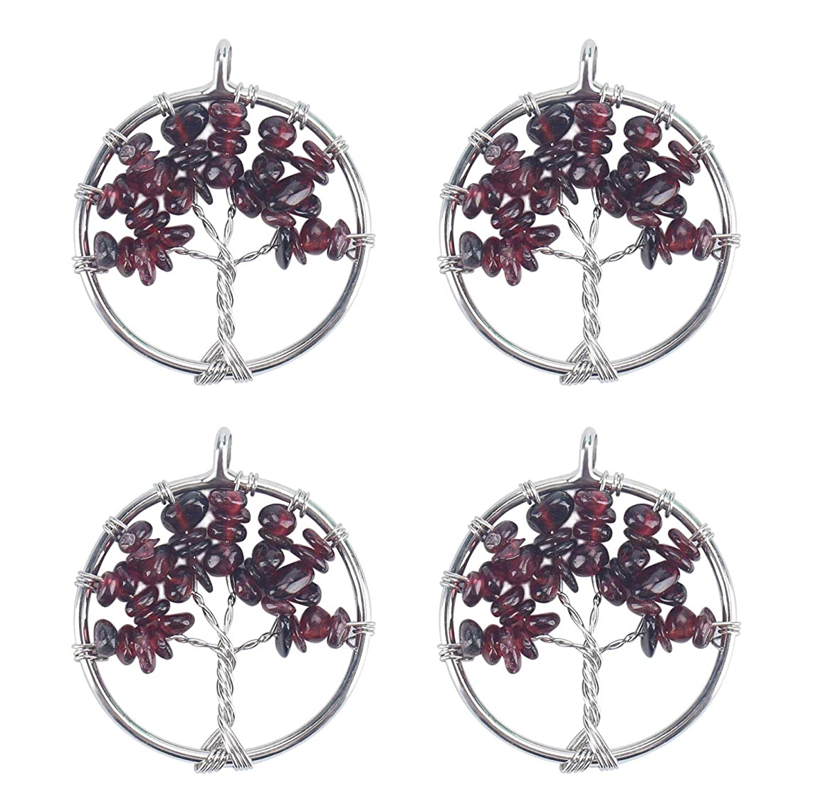 Wholesale 4 PCS Family Tree of Life Pendant Handmade Wire Wrapped Natural Garnet Quartz Chakra Bulk for Jewelry Making