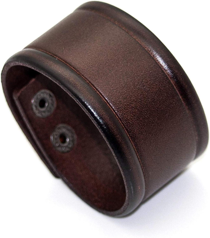 Heavstjer Punk Alloy Buckle Bracelet Wide Leather Wristband Cuff Bracelet
