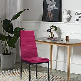 HJTLK Sillas de Comedor, sillas de Comedor Modernas Silla de Terciopelo Cocina Juego de sillas de Comedor Sillas Negras Juego de 6 Muebles de Comedor Silla tapizada con Respaldo Alto tapizado, Rojo