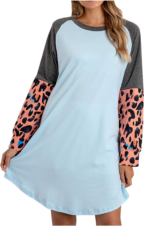 778 Fashion Women Home Dress Loose Leopard Splic Print Homewear Casual O-Neck Long Sleeve Sleepwear