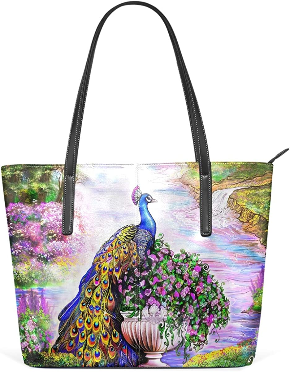 MNSRUU Tote Bag for Oklahoma All items in the store City Mall Women Vintage Shoulder Floral Peacock B Blue
