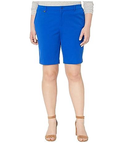 LAUREN Ralph Lauren Plus Size Bi-Stretch Twill Shorts (Blue Glacier) Women