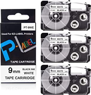 Pristar 9mm x 8m Replacement for Casio EZ XR-9WE XR-9WE2S Labeling Tape (Black on White), 3-Pack, Cassette for Casio EZ Label Maker KL-60 KL-60SR KL-120 KL-8100 KL-100 KL-130 KL-820 KL-HD1-IH