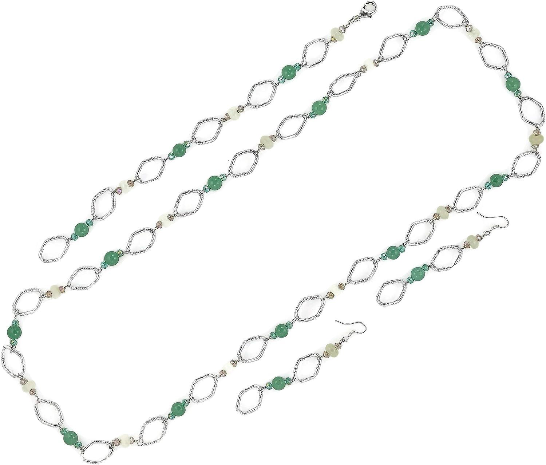 Nisha's Gemstone (Jade/Snow Quartz) Fashion Jewelry Set