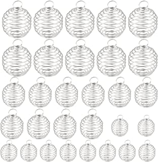 Dreamtop 30pcs Spiral Bead Cages Pendants Silver Plated for Jewelry Making Crafting Findings (15mm, 25mm, 30mm)