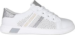 KRISP Women Ladies Lace Up Plimsoll Trainers Glitter Heel Sneakers Casual Flat Shoes