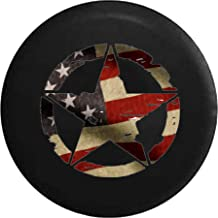 Spare Tire Cover Oscar Mike Military Star Vintage American Flag fits SUV or Camper RV Accessories 33 Inch