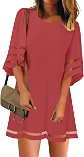 Women Casual Crewneck Mesh Panel 3/4 Bell Sleeve Loose Tunic Dress