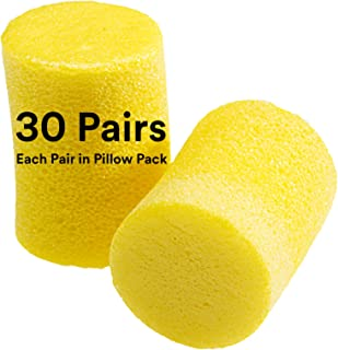 3M Ear Plugs, 30 Pairs/Box, E-A-R Classic 310-1060, Uncorded, Disposable, Foam, NRR 29, For Drilling, Grinding, Machining, Sawing, Sanding, Welding, 1 Pair/Pillow Pack, Yellow,