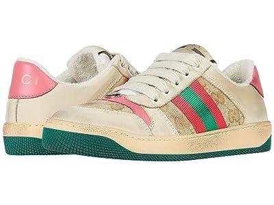 Gucci Kids Screener Sneaker (Little Kid) (New Sand/Pink) Girl