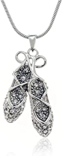 PammyJ Crystal Ballerina Ballet Dance Slippers Pendant Necklace, 18